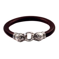 Viking Bracelet with heavy leatherband. | MUSEUMS KOPI SMYKKER